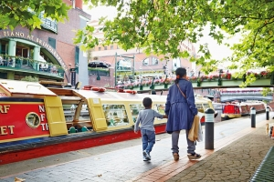 Brindley Place at the heart of Birmingham, England