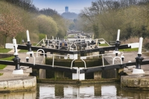 The flight of canal locks at Hatton in Warwickshire
