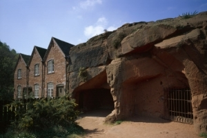 The unique rock houses at Kinver Edge, Staffordshire, with the caves along side. The houses are fronted as with traditional houses but are built into the sandstone rock.
