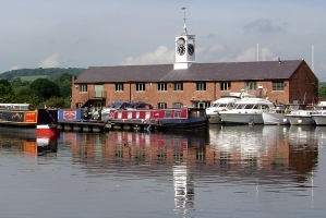 The inland port of Stourport on the Stourport Ring canal holiday route.
