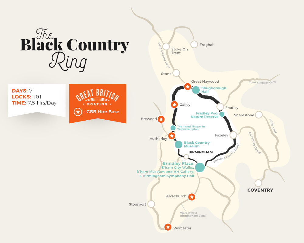 map of the canals that make up the Black Country Ring