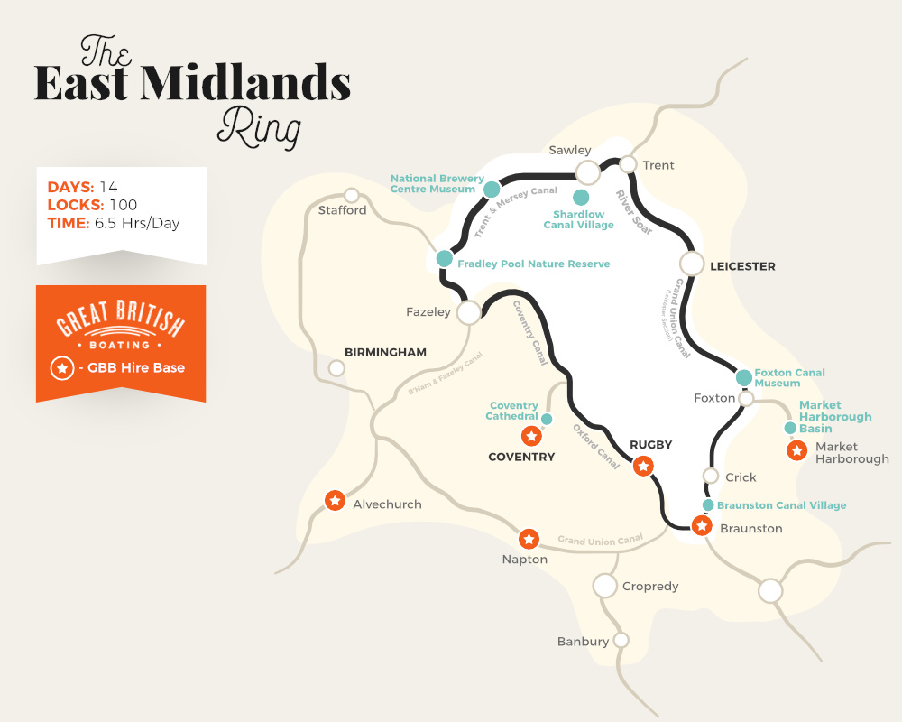 Map showing the canals that make up the East Midlands Ring